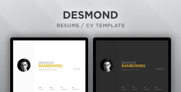 Desmond Resume Cv Html Template By Ruventhemes Themeforest