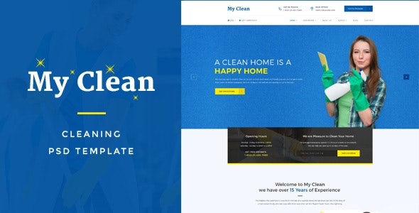 MyClean : Cleaning Company PSD Template - Business Corporate
