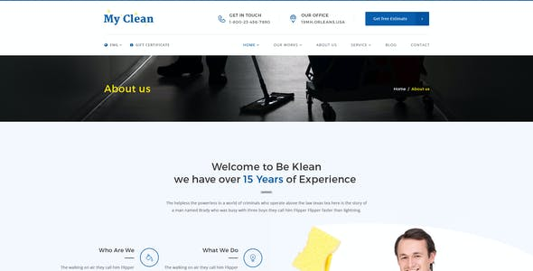 MyClean : Cleaning Company PSD Template