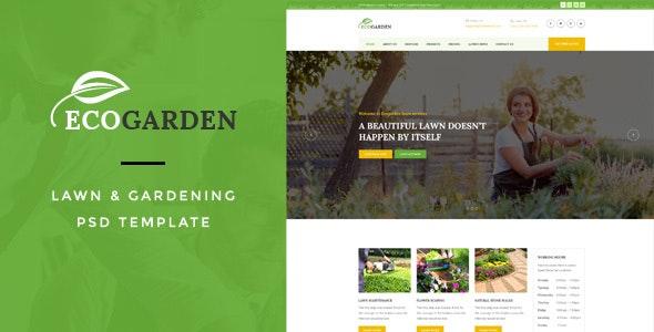 Eco Garden : Lawn & Gardening PSD Template - Business Corporate