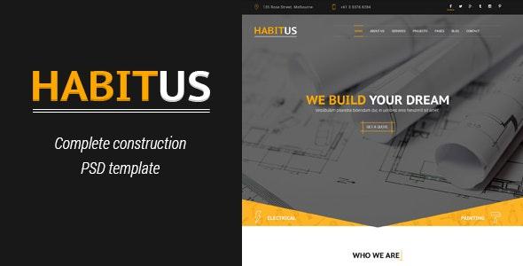 Habitus - Construction PSD Template - Corporate Photoshop