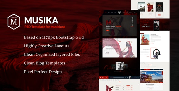 Musika - Music PSD Template - Creative PSD Templates