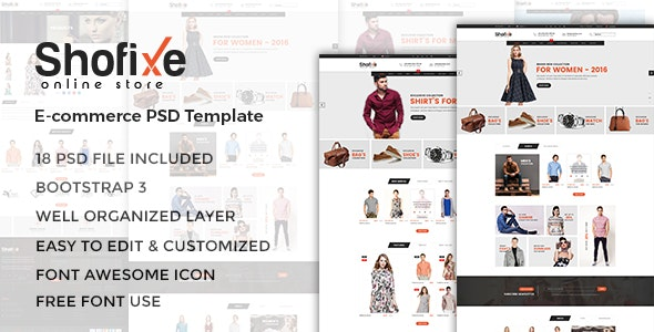 Shofixe - eCommerce PSD Template - Fashion Retail