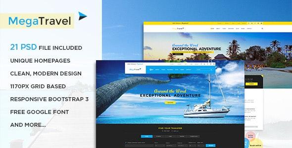 MegaTravel - Premium Tours and Travel PSD Template - Creative Photoshop