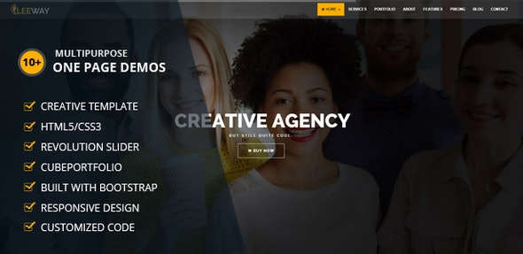 Leeway Multipurpose One Page Template - Corporate Site Templates