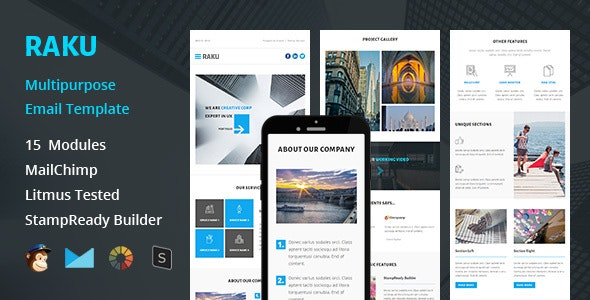 RAKU - Multipurpose Responsive Email Template + Stampready Builder - Email Templates Marketing