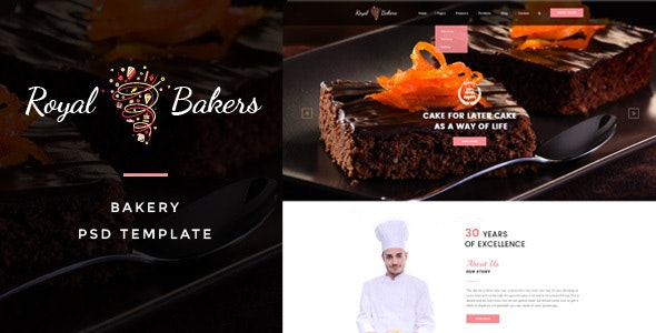 Royal Bakers - Cakery PSD Template - Food Retail