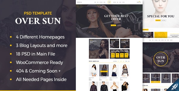 Over Sun - Multipurpose eCommerce PSD Template - Retail Photoshop
