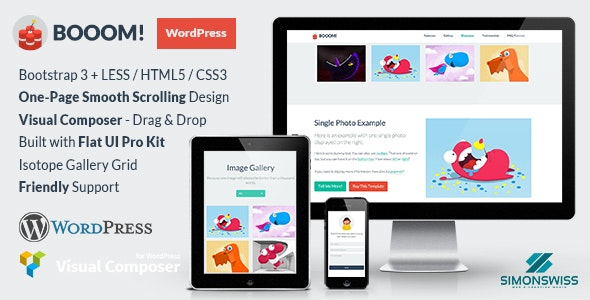 Booom! - WordPress Theme with the Flat UI Pro Kit - Portfolio Creative