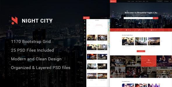 Night City - Multipurpose Geolocation Directory & Events PSD Template - Nightlife Entertainment