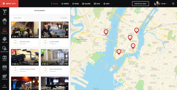 Night City - Multipurpose Geolocation Directory & Events PSD Template