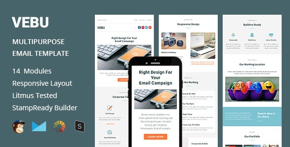 VEBU - Multipurpose Responsive Email Template + Stampready Builder - Email Templates Marketing