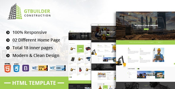 GTBuilder - Building & Construction HTML5 Template - Business Corporate