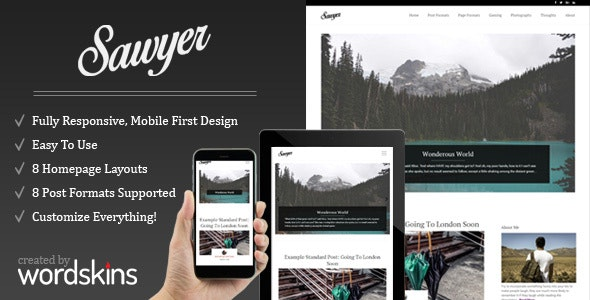 Sawyer - Clean & Responsive WordPress Blog Theme - Personal Blog / Magazine