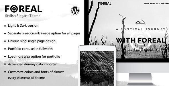 Foreal - Clean Black and White Theme - Creative WordPress