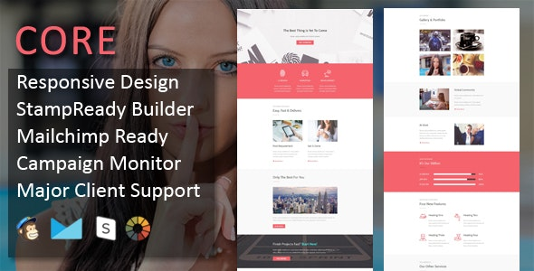 CORE - Multipurpose Responsive Email Template with online Stampready & Mailchimp Builders Access - Email Templates Marketing