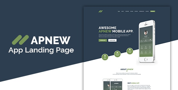 ApNew - App Landing PSD Template - Technology Photoshop