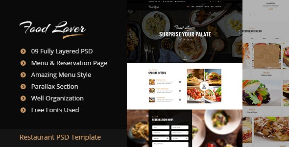 Food Lover Restaurant PSD Template - Restaurants & Cafes Entertainment