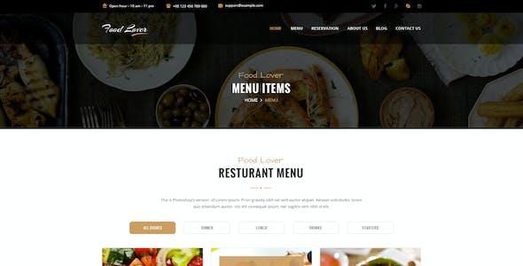 Food Lover Restaurant PSD Template