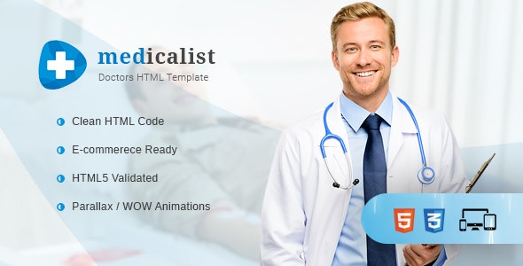 Medicalist - A Responsive HTML Template for Medical, Doctors, Dentists, Clinics and Hospitals - Health & Beauty Retail