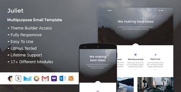 Juliet – Responsive HTML Email + StampReady, MailChimp & CampaignMonitor compatible files