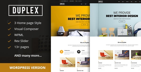 Duplex - Interior and Architecture Design WordPress Theme - Business Corporate