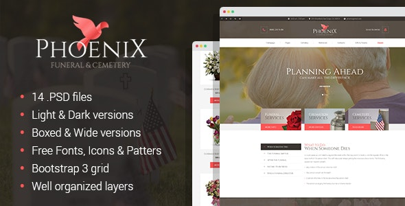 Phoenix - Funeral Home & Cemetery PSD Template - Corporate Photoshop