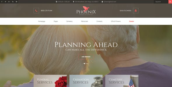 Phoenix - Funeral Home & Cemetery PSD Template