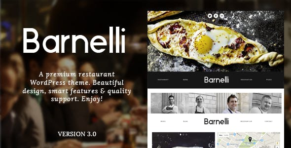 Barnelli Restaurant Responsive WordPress Theme Restaurants Cafes Entertainment