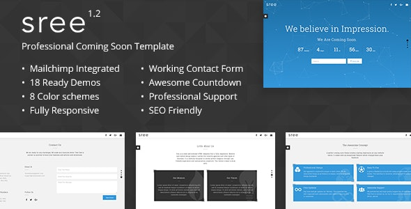 Sree - Responsive Coming Soon Template - Under Construction Specialty Pages