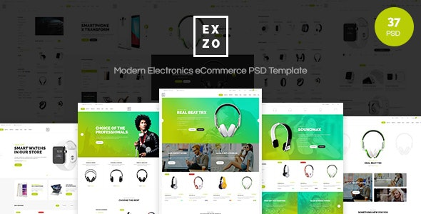 Exzo - Modern Electronics eCommerce PSD Template - Shopping Retail