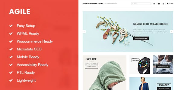Agile Lightweight Blogging and Shopping WordPress Theme