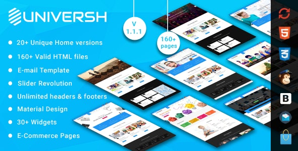 Universh - Material Education, Events, News, Learning Centre & Kid School MultiPurpose HTML Template - Corporate Site Templates