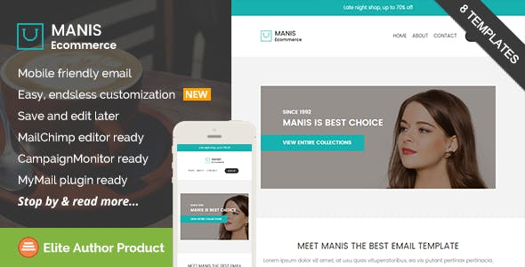 Manis, Ecommerce Email Template + Builder Access