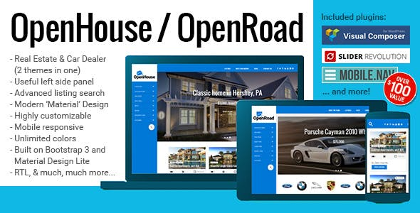 OpenHouse Real Estate and OpenRoad Car Dealer Responsive Material WordPress Theme