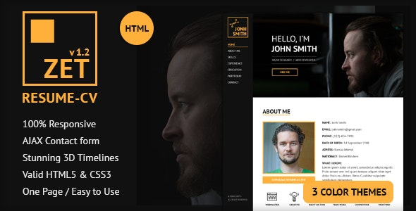ZET - One Page Resume/Personal Portfolio HTML Template - Personal Site Templates