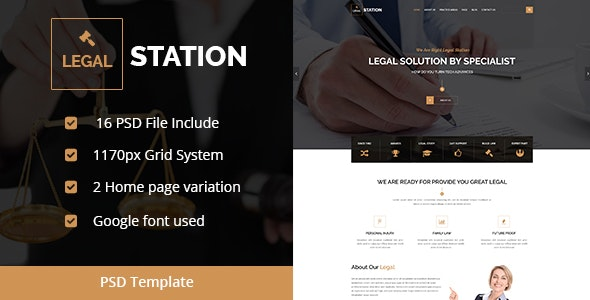 LegalStation – Law/Legal,Lawyer, Business Template - Corporate PSD Templates