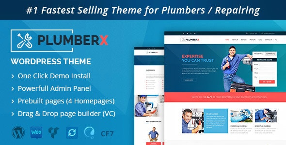 Plumber - Construction and Repairing WordPress Theme - Business Corporate