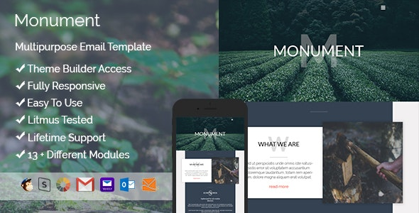 Monument – Responsive HTML Email + StampReady, MailChimp & CampaignMonitor compatible files - Email Templates Marketing