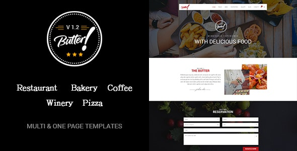 Butter - Professional Restaurant, Bakery, Coffee, Winery and Pizza HTML Layouts - Entertainment Site Templates