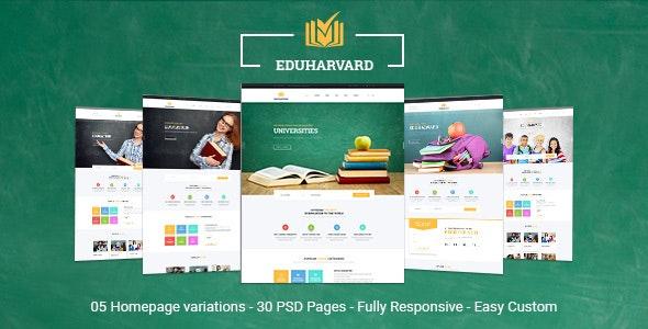 Eduharvard - Multiconcept Education & Courses PSD Template - Business Corporate