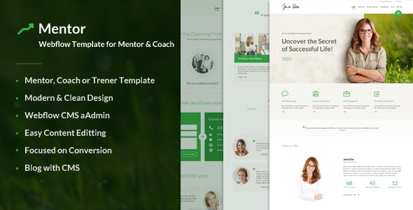 Download Mentor – Webflow Template for Personal Development Coaches