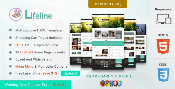 Lifeline NGO and Charity Responsive HTML Template - Nonprofit Site Templates