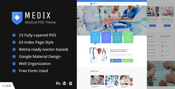 Medix - Doctor and Health Care PSD Template - Business Corporate