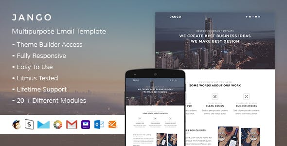 Jango – Responsive HTML Email + StampReady, MailChimp & CampaignMonitor compatible files