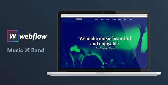 Download Music & Band Webflow Website Template — Duotone