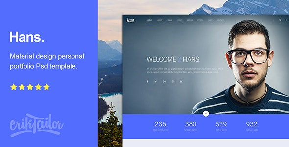 Hans - Material Design Personal Portfolio Psd Template - Personal Photoshop