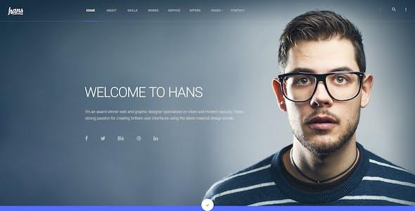 Hans - Material Design Personal Portfolio Psd Template
