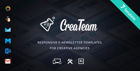 CreaTeam - Multipurpose Creative Agency E-newsletter + Builder Access - Email Templates Marketing