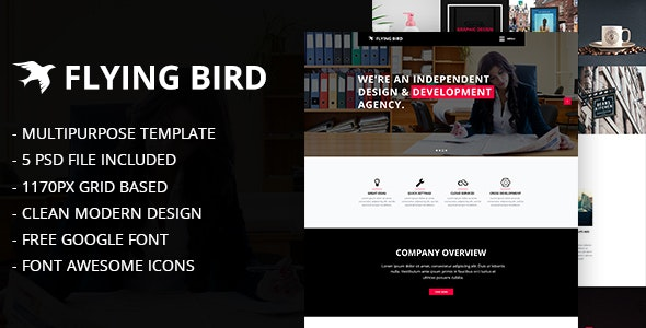 Flying Bird Multipurpose PSD Template - Business Corporate